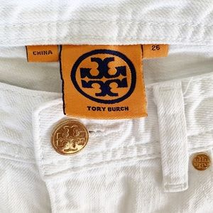 Tory Burch Women's White Cropped Jeans Size 26